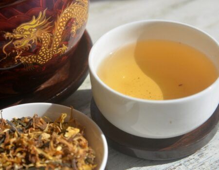 Dragon's Brew, roasted green tea, calendula, rooibos